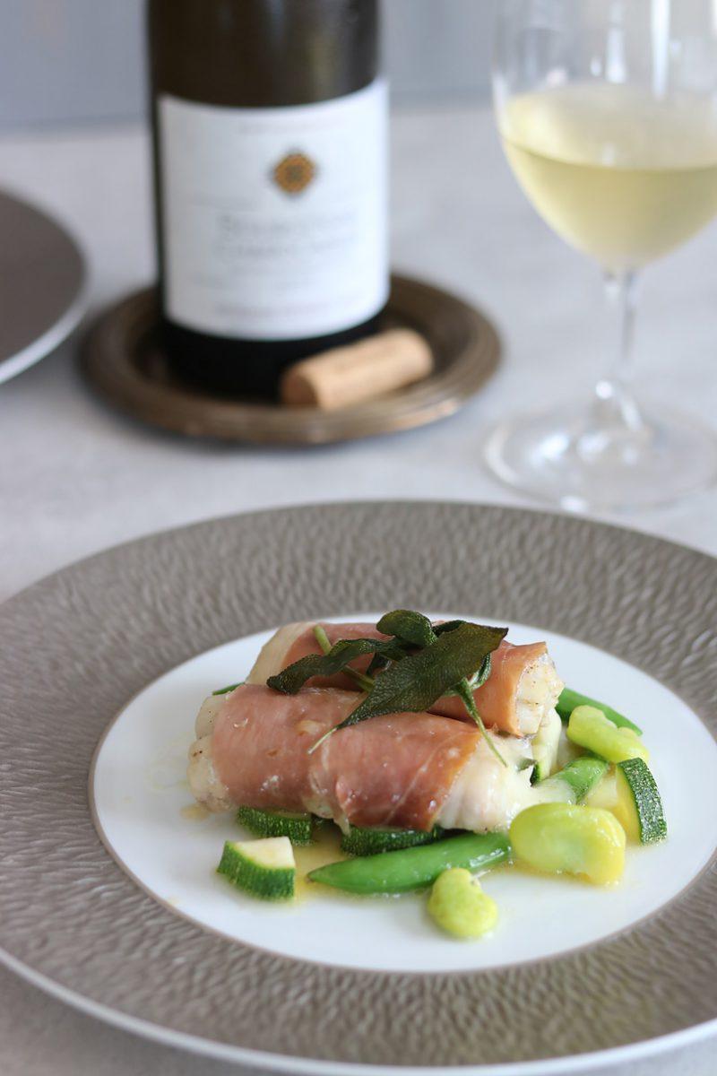 白ワインに合う、太刀魚のスカモルツァチーズ挟みと、生ハムのロートロ、旬野菜のオリーブオイル蒸し