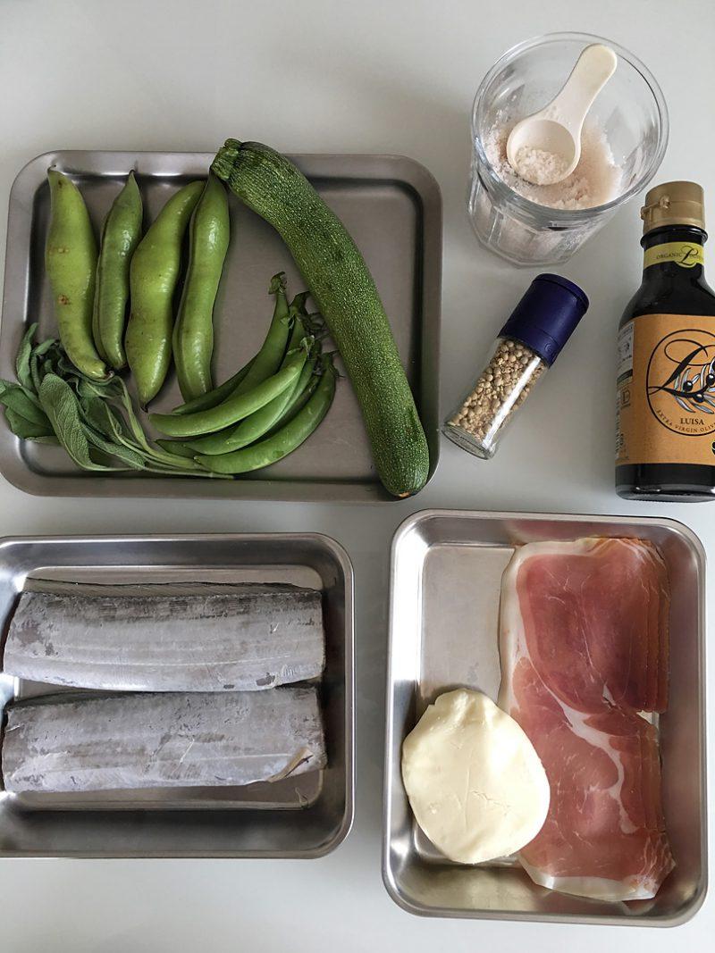 スカモルツァチーズを挟んだ太刀魚と生ハムのロートロ 旬の野菜のオリーブオイル蒸しの作り方