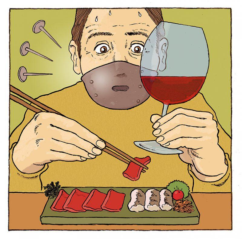 赤ワインと生魚は一緒に食べると金属の味がする!