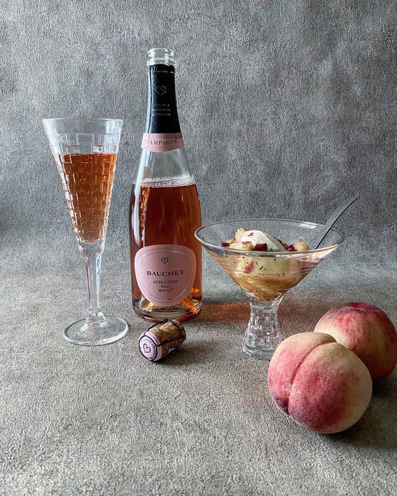 ワインのおつまみ/シャンパーニュ・ロゼと桃のアールグレイマリネのマリアージュ