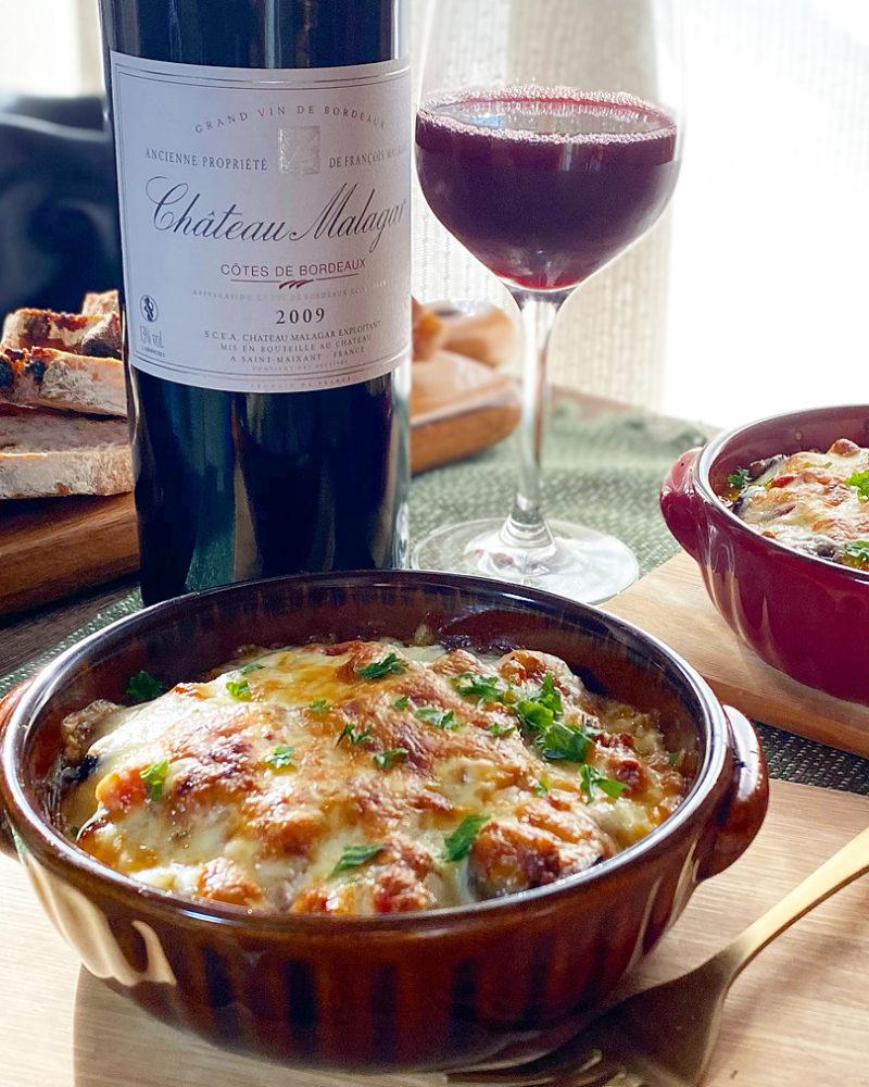 赤ワインに合う茄子のトマトミートチーズグラタン