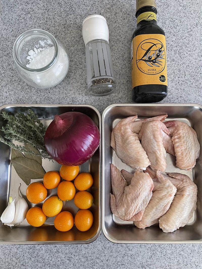 手羽先と金柑のオーブン焼き