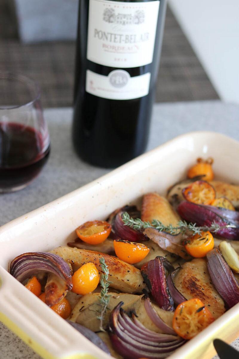 赤ワインとのマリアージュ 手羽先と金柑のオーブン焼き