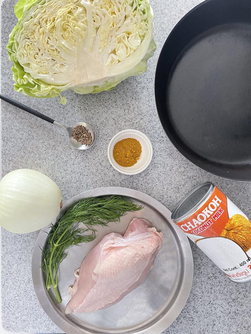 鶏肉とキャベツのココナッツクリーム煮〜カレー風味〜
