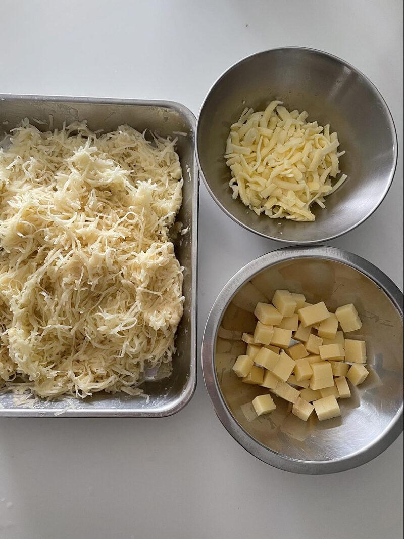 コンテチーズは角切りにする